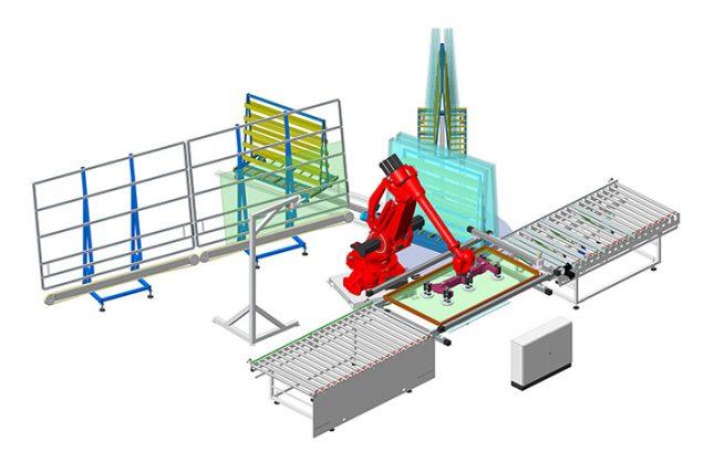 Robot menuiserie 6 axes de dépose vitrage automatique